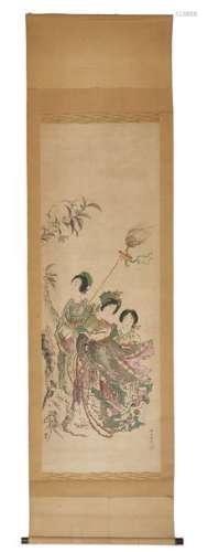 Peinture polychrome sur rouleau (kakejiku) représe…