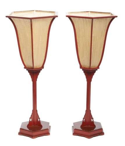 Lot de deux lanternes de temple (andon) de forme h…