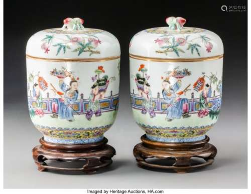 78193: A Pair of Chinese Famille Rose Enameled Porcelai