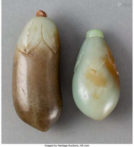 78034: Two Chinese Jade Eggplant Snuff Bottles, Qing Dy