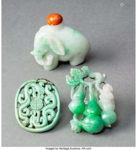 78025: A Chinese Jadeite Elephant Snuff Bottle and Two