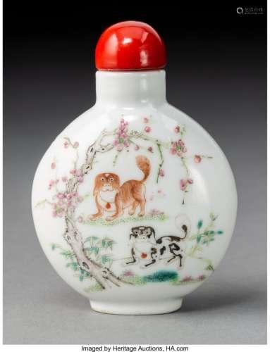 78006: A Chinese Enameled Porcelain Pekingese Snuff Bot