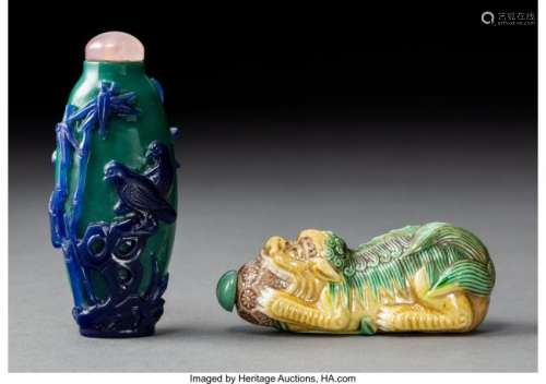 78009: A Chinese Glass Overlay Snuff Bottle and Porcela