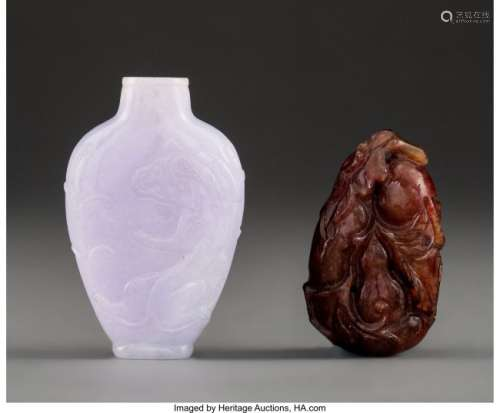78026: A Chinese Carved Lavender Jadeite Snuff Bottle w