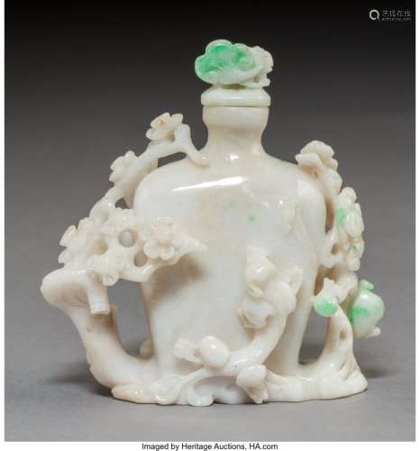 78027: A Chinese Carved Jadeite Snuff Bottle 3-1/2 x 3