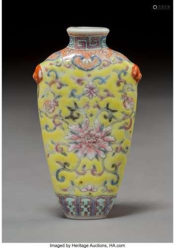 78008: A Chinese Enameled Porcelain PeonySnuff Bottle,