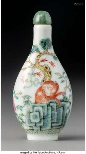 78007: A Chinese Enameled Porcelain Monkey Snuff Bottle