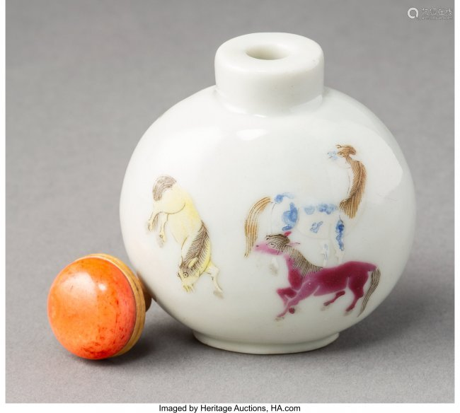 78003: A Chinese Enameled Porcelain Horses Snuff Bottle