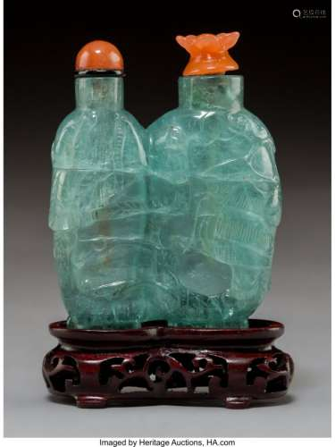 78023: An Aquamarine Double Snuff Bottle with Carnelian