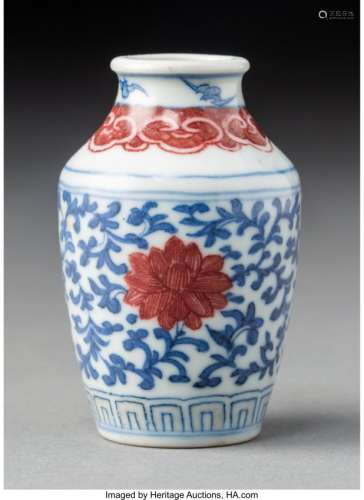 78010: A Chinese Blue and Red Underglaze Porcelain Snuf