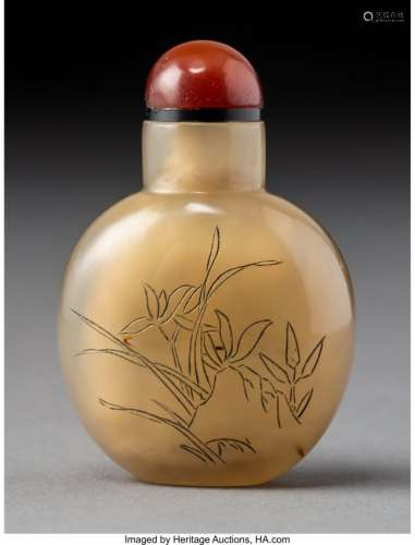 78018: A Chinese Inscribed Agate OrchidSnuff Bottle, la