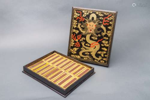 An Extremely Rare and Fine Imperial Ink Cakes Set in Original Luxury Box, China, Qing Dynasty.