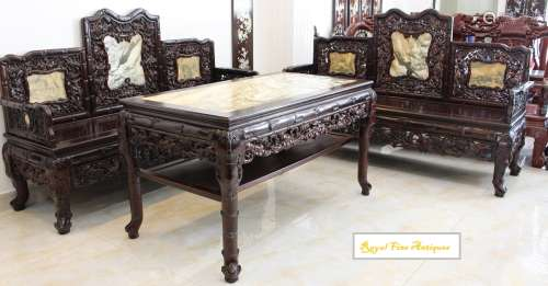 A Set of Three Pieces of Rosewood (Cam Lai)-Marble Inset