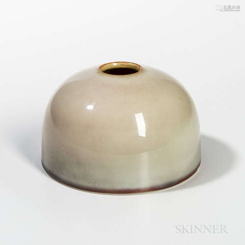 Peachbloom-glazed Beehive Water Coupe, China, Kangxi style, without neck, the wispy gray glaze with peachbloom ring around base, six-ch