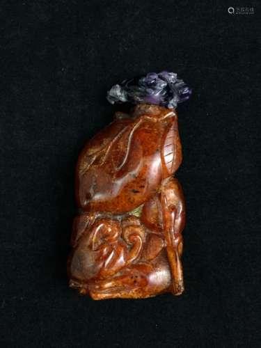 Flacon tabatière en ambre de belle couleur caramel...;