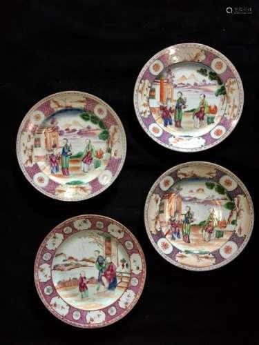 Compagnie des Indes, ensemble de quatre assiettes ...;