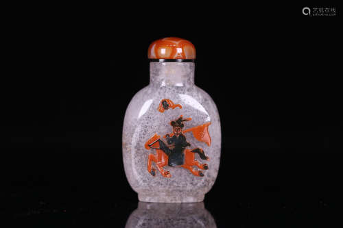 A STORY DESIGN OLD CRYSTAL SNUFF BOTTLE