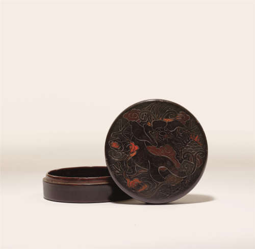 元 雕填彩漆龙纹香盒