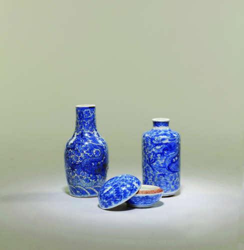 清 青花龙纹小瓶、香盒三件一组