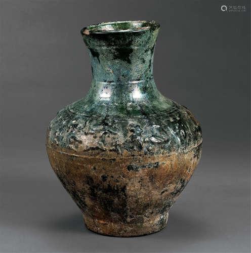 汉 绿釉兽纹壶