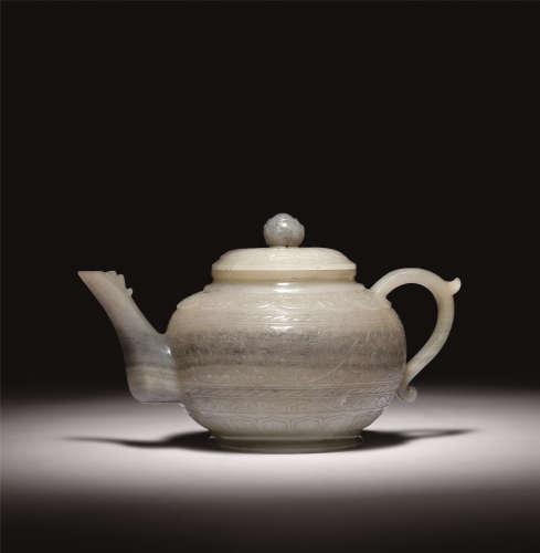 清初 青花料玉痕都斯坦风格茶壶
