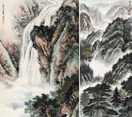 溥佺 山水两幅 纸本设色 立轴