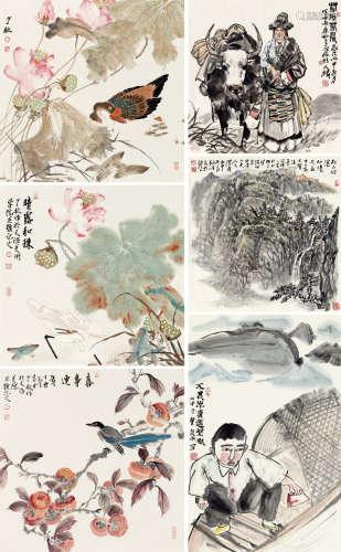 谭乃麟、李毅峰、窦良羽、王少桓 书画 纸本设色 软片