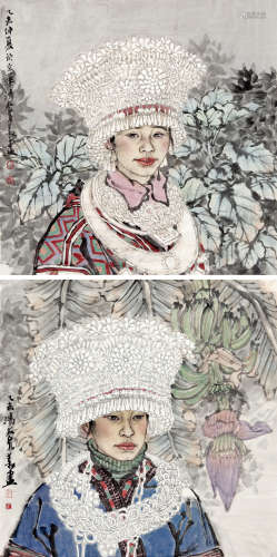 刘泉义 苗女两幅 纸本设色 软片