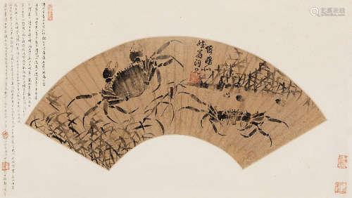 傅山(1607~1684) 纵横江湖 富甲天下 扇片 纸本