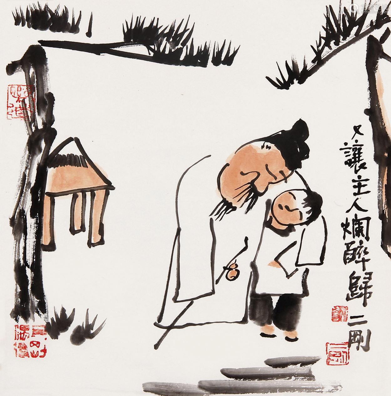 刘二刚(b.1947) 又让主人烂醉归 镜片 纸本