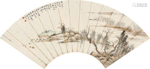 糜耕云(1910~1998) 汀渚泊舟 扇片 纸本
