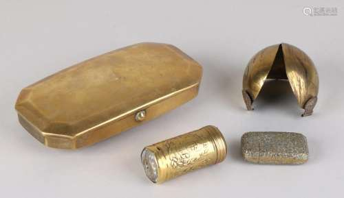 Four parts 19th century brass. Consisting of: Miniature