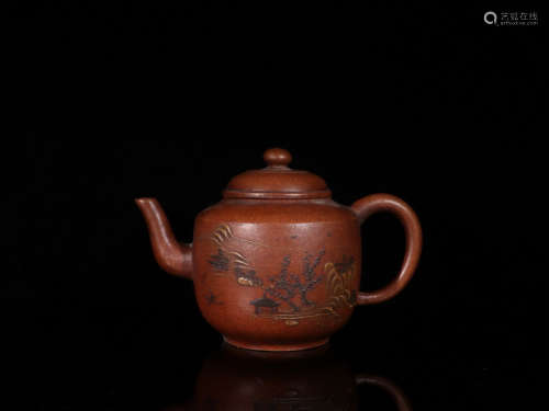 A ZISHA TEAPOT WITH PAINTING AND CHINSES CHARACTERS