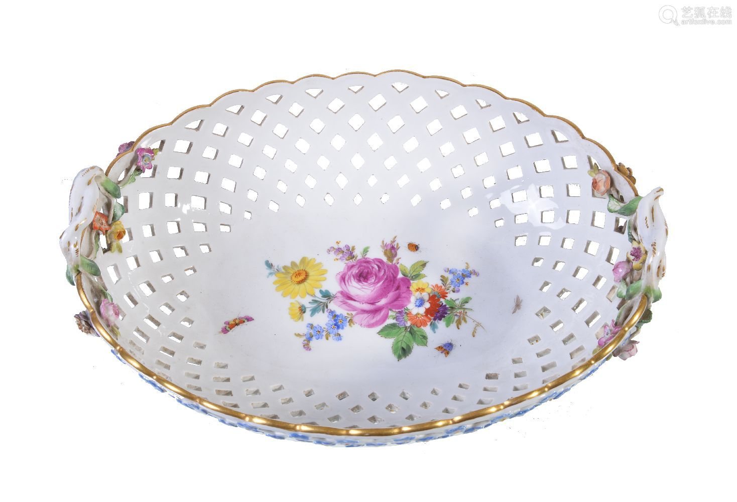 A Meissen pierced oval two-handled flower-encrusted basket, first quarter 20th century, the