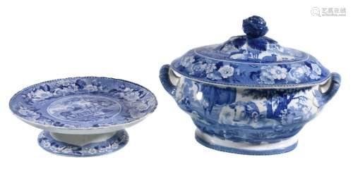 A Carey blue and white printed pottery 'Domestic Cattle' series tureen and cover, circa 1820, of