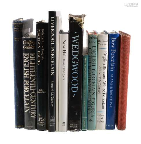 Assorted reference books covering mostly British ceramics, including: Bradshaw, 18th Century English