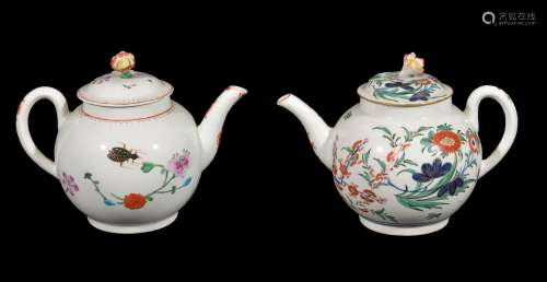 A Worcester polychrome globular teapot and cover painted with the 'Astley' pattern, circa 1770, 15cm
