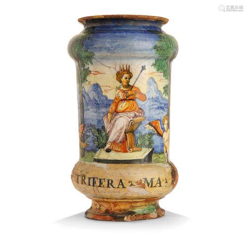 ALBARELLO CYLINDRIQUE À DOUBLE RENFLEMENT EN MAJOLIQUE, ATELIER D'ORAZIO FONTANA, URBINO, VERS 1565-1570