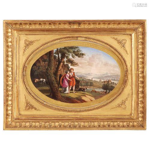 PLAQUE OVALE EN PORCELAINE, PARIS, VERS 1830
