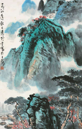 应野平(1910~1990) 1984年作 秋山红树 立轴 设色纸本