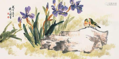 钱行健(1935~2010) 戊午(1978)年作 双栖图 镜片 设色纸本