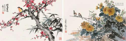 乔木(1920~2002) 乙丑(1985)年作 秋艳·鸣春 镜片 设色纸本