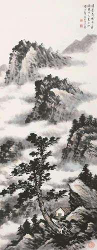 黄君璧(1898~1991) 清暑茂林 镜片 设色纸本