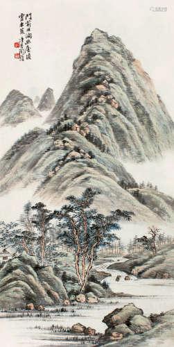 陶冷月(1895~1985) 林涧幽屋 立轴 设色纸本