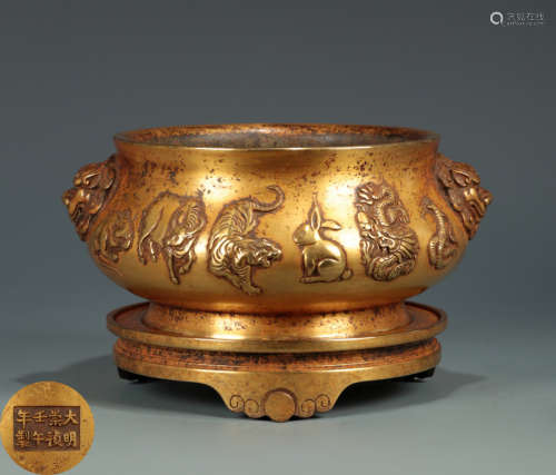 A COPPER CENSER WITH 12-ZODIAC-ANIMALS PATTERN