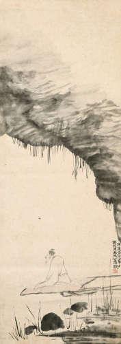 马公愚(1890~1969)贺天健(1891~1977)题 高士图 立轴 水墨纸本