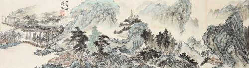 溥儒(1896~1963) 山水 横幅 镜心 设色纸本