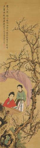 汤涤(1878~1948)徐云(b.1963) 梅下仕女图 立轴 设色绢本