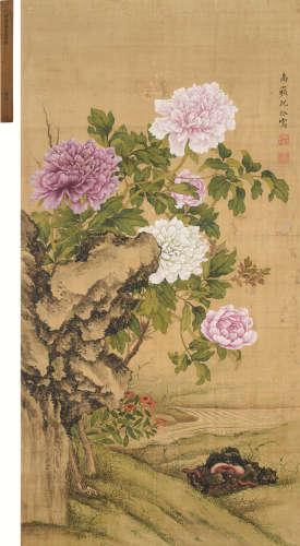 沈铨(1682~1760) 花卉灵芝 立轴 设色绢本