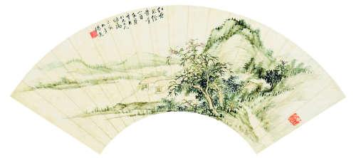 杨逸(1864~1929) 山水 扇面 镜心 设色纸本